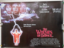 Witches of Eastwick, Original UK Quad Poster, Cher, Michelle Pfeiffer, Jack Nicholson, '87